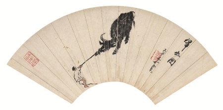 李可染(1907~1989)  归牧图 扇面 立轴 设色纸本