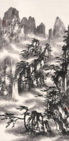 郭传璋(1912~1990)  水墨山水 立轴 水墨纸本