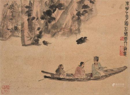 傅抱石(1904~1965)  唐人诗意图 立轴 设色纸本