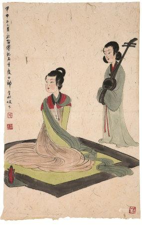 傅抱石(1904~1965)  酒醉琵琶 镜心 设色纸本