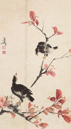 王雪涛(1903~1982)  红叶八哥 立轴 设色纸本