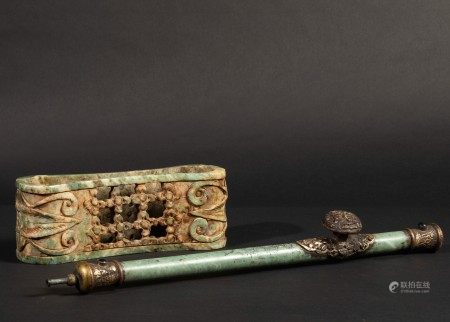 A jade pipe and pillow, China, early 1900s