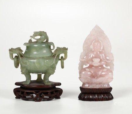A jade censer and a quartz Buddha, China, 1900s