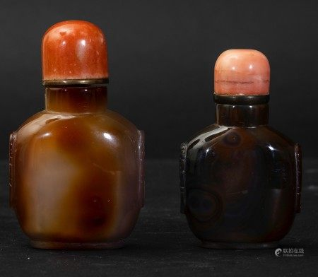 Two agate snuff bottles, China, Qing Dynasty