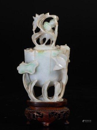 A small jadeite vase, China, 1900s