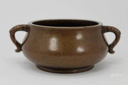 18th Century Chinese Bronze Censer, Signed