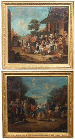 Pair, 18th C. Tavern Paintings with Figures