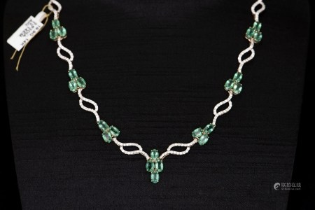 AN EMERALD & DIAMOND NECKLACE, AIG CERTIFICATE