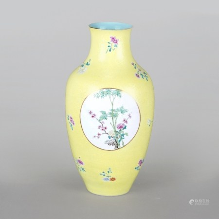 A FAMILLE ROSE YELLOW-GROUND SGRAFFIATO VASE, LATER QING