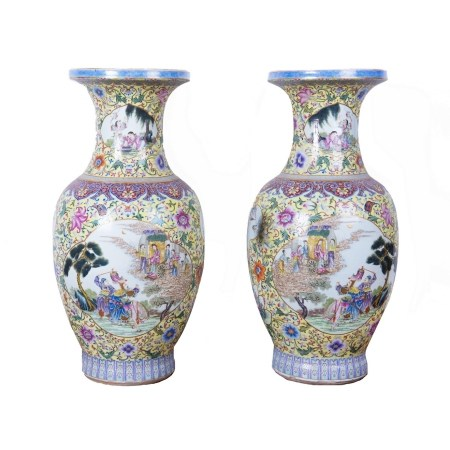 A PAIR OF YELLOW GROUND FAMILLE ROSE VASES, REPUBLIC PERIOD