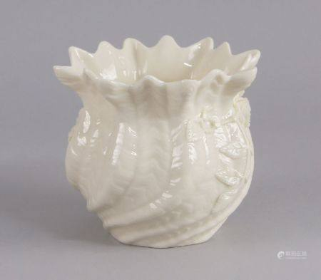 A modern Belleek vase, 20h century, modelled with a petalled rim and writhen form body, applied with