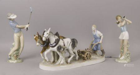 A Sitzendorf porcelain figure group of a ploughman, 20th century, printed marks to base, 37cm