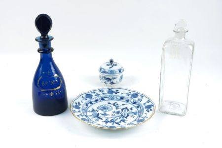 A Georgian blue glass decanter and stopper, with gilded label for Brandy, 27cm high, together with a