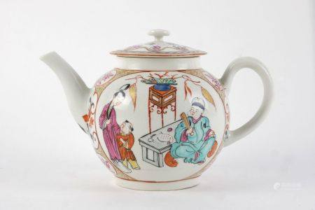 A Worcester tea pot, 18th century, of globular form, with curving handle and spout, decorated with