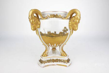 A Rosenthal porcelain urn, 20th century, moulded in the Neoclassical taste with three rams head