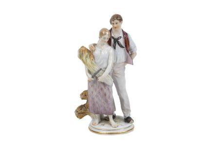 A Meissen figure group of a farmer and his companion, late 19th/early 20th century, probably