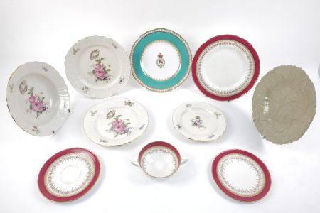 A Royal Copenhagen porcelain part dinner service, the rims moulded with basket weave designs,