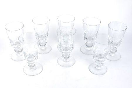 A set of eight Georgian style glass rummers, 20th century, 21cm high (8)Please refer to department