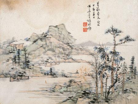 张祥凝 1947年作 设色山水