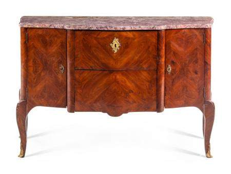 A Louis XV Style Tulipwood Marble-Top Server