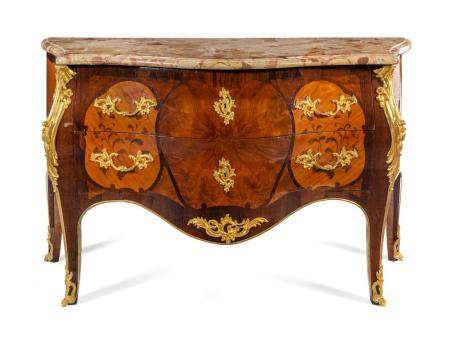 A Louis XV Style Gilt Bronze Mounted Marquetry Marble-Top Co