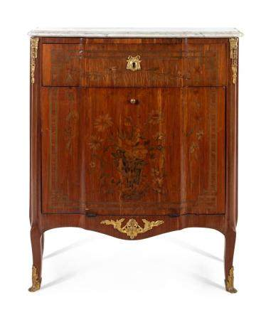 A Louis XV Style Marquetry Marble-Top Cabinet