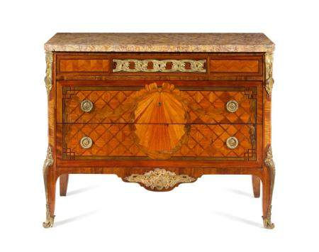 A Louis XV Style Gilt Bronze Mounted Parquetry Commode