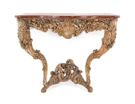 A Louis XV Style Painted and Carved Console Table