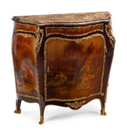 A Louis XV Style Gilt Bronze Mounted Painted Commode