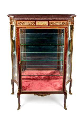 A Louis XV Style Gilt Bronze Mounted Marble-Top Vitrine Cabi