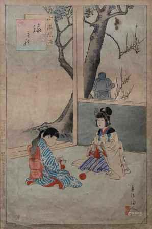 """2 Farbholzschnitte, Japan, 19. Jh., """"Überfall"""", """"Strickende Mädchen"""", 22.5 x 34.5 cm (P.a.) bzw. 34 x 22.5 cm (P.a.), Altersspuren, je unter Glas gerahmt, 1x Glas mit Sprung am Rand"""