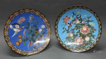 2 Platten, Japan, um 1880, Cloisonné, 1x fliegender Vogel und Chrysanthemen auf blauem Grund, 1x zwei fliegende Vögel, Lilien und Päonien auf hellblauem Grund, je Randbordüren, ø 45.3-45.9 cm