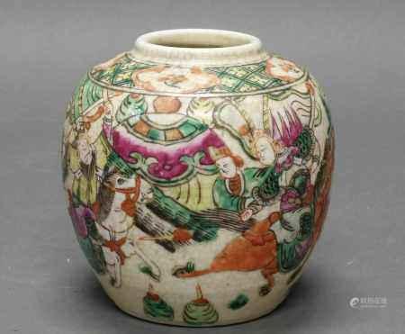 Vase, China, 19. Jh., Porzellan, polychrome Malerei, Krieger, Bodenmarke, 13 cm hoch