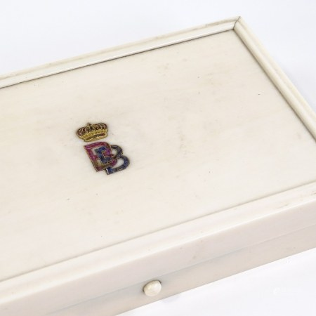 ROYAL INTEREST - an ivory jewel box circa 1900, the lid set with gold crowned BB monogram set with