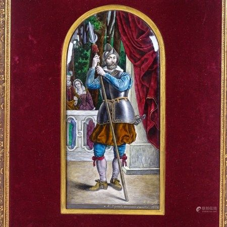 Theophile Soyer (1841 - 1915), 19th century painted enamel convex arch-top plaque, depicting an