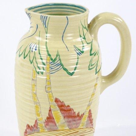 A Clarice Cliff Silver Birch Greek shape jug, hand painted tree decoration, model no. 563, circa