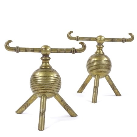 Dr Christopher Dresser for Benham and Froud - a pair of Victorian Aesthetic Movement brass fire