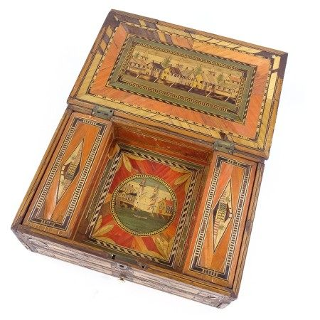 A Napoleonic prisoner of war straw-work box, the lid decorated with a fishing harbour scene,