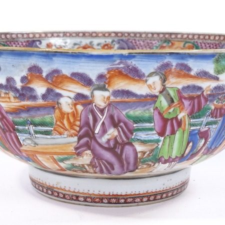 A Chinese 18th century famille rose porcelain bowl, hand painted decoration depicting figures