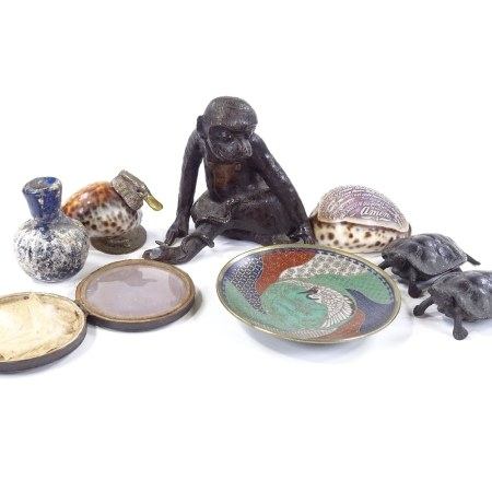 A group of miscellaneous, including an Oriental/Indian bronze monkey with a cobra on his leg, height