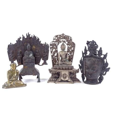 A group of 4 various Oriental bronze deities, largest height 23cm
