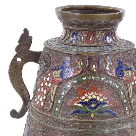 A Chinese relief cast bronze and champleve enamel decorated 2-handled vase, height 36cm