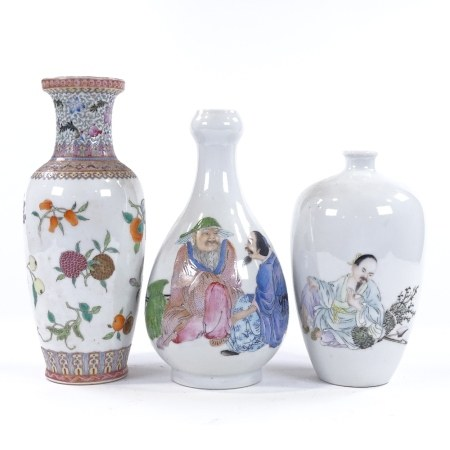 3 various Chinese porcelain vases with painted enamel decoration, largest height 26cm
