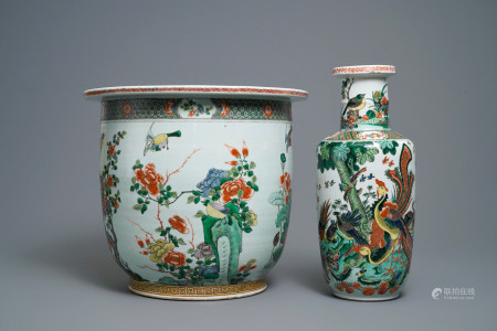 A large Chinese famille verte jardinière and rouleau vase, 19th C.