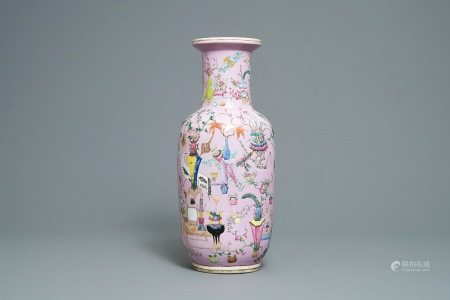 A Chinese famille rose pink-ground rouleau vase, 19th C.