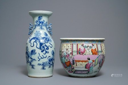 A Chinese blue and white celadon vase and a famille rose jardinière, 19th C.