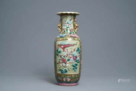 A Chinese brown- and celadon-ground famille rose vase, 19th C.