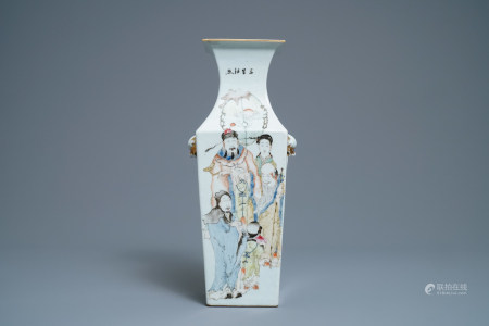 A square Chinese qianjiang cai vase with figures, 19/20th C.