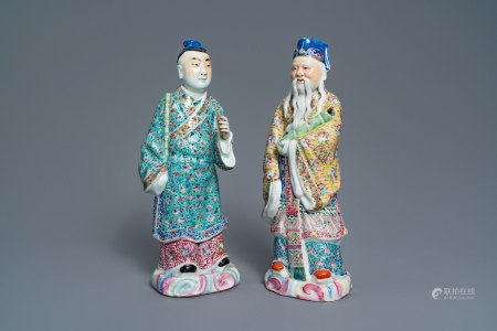 Two Chinese famille rose figures of immortals, 19/20th C.