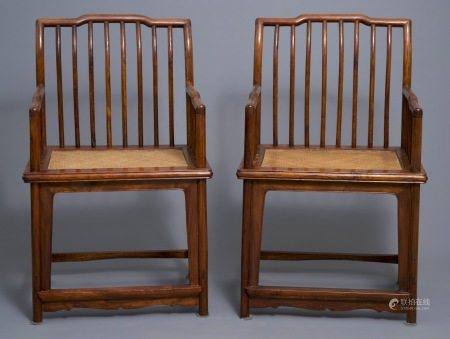 A pair of Chinese huanghuali wood chairs, Republic